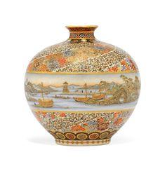A Satsuma Vase Signed Yabu Meizan, Meiji Period (Late Century). Japanese Porcelain, Japanese Ceramics, Japanese Pottery, Japanese Art, Japanese Beauty, Fine Porcelain, Porcelain Ceramics, Ceramic Art, Porcelain Jewelry