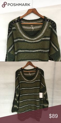 Oversized Free People sweater green gray I'm in love!  This is an amazing oversized Free People sweater.  So cozy!  In greens and gray. You will not be disappointed with this beauty and it won't ever go out of style😉 Free People Sweaters