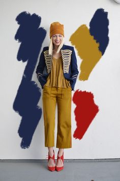 Military blazer paired with mustard yellow and red, military trend, fashion photography, navy blue style, fashion tips, fashion blogger, fashion and art, art wall, creative fashion photogpraphy