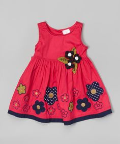 Look at this the Silly Sissy Fuchsia & Navy Flowers A-Line Dress - Infant, Toddler & Girls on #zulily today!