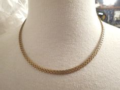 "14k Yellow Gold Textured Flat Woven Chain Necklace 18"" Long 11.29g Italy 4.5mm  #Unbranded #Chain"
