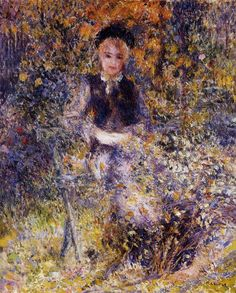 Young girl on a bench  by Pierre-Auguste Renoir.