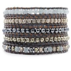 Chan Luu - Pyrite Mix Sectioned Wrap Bracelet on Natural Grey Leather, $245.00 (http://www.chanluu.com/wrap-bracelets/pyrite-mix-sectioned-wrap-bracelet-on-natural-grey-leather/)