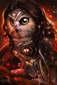 facebookltumblr l instagram l  society6 (prints store) l pinterest wanted to do this for a long time an owl version of Gal Gadot's wonder woman. next...