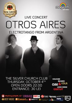 Concert OTROS AIRES - Electrotango from Argentina Long Drink, Bacardi, Good Music, Events, Concert, Places, Argentina, Argentine Tango, Recital