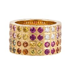 Cartier Sapphire and Diamond Gold Band | From a unique collection of vintage band rings at http://www.1stdibs.com/jewelry/rings/band-rings/