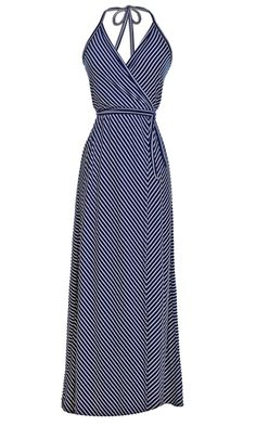 Halter Wrap Maxi Dress in Navy