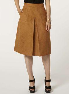 Tan Suedette Pocket Midi Skirt