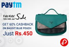 Paytm Fab Fashion Sale offers 60% Cashback on Baggit Blue Pouch Just @ 450 after Cashback. Rs.1125 – 60% cashback = Rs.450. Paytm Coupon Code – WBAG60  http://www.paisebachaoindia.com/get-60-cashback-on-baggit-blue-pouch-just-450-fab-fashion-sale-paytm/