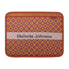 Orange Purple Harlequin Pattern Computer Sleeve #zazzle #accessories #style