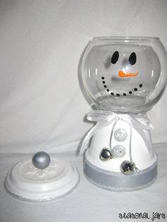 Medium Sized Clay Snowman Candy Jar dish by SeasonalJars on Etsy