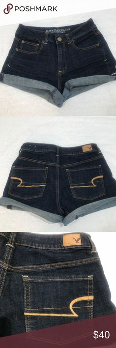American Eagle Outfitters High Waist Super Stretch American Eagle Outfitters  Super Stretch  Size 8 Dark wash Excellent condition  Material and measurements are in the photos   Shop my closet for Women's and Children's Fashion.   Shop @mensstylehouse for top brand men's fashion. American Eagle Outfitters Shorts Jean Shorts