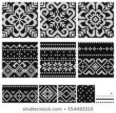 Lignende bilder, arkivbilder og vektorer av Set of Norwegian Star knitting patterns, vector seamless patterns – 554493310 | Shutterstock Crochet Stitches Patterns, Star Patterns, Craft Patterns, Stitch Patterns, Knitting Patterns, Fair Isle Chart, Fair Isle Pattern, Knitting Charts, Knitting Stitches