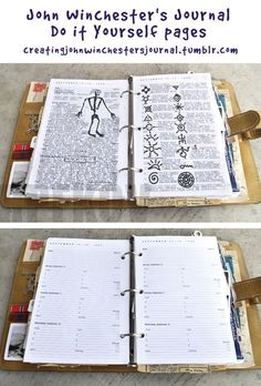 A blank set of replica pages, carefully reproducing as many of the details as possible from the pages in the screen used prop version of John Winchester's journal.