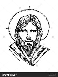 Hand Drawn Vector Illustration Or Drawing Of Jesus Christ Face - 474927073 : Shutterstock