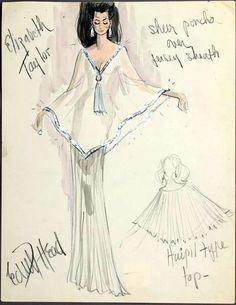 Elizabeth Taylor — Edith Head's costume sketches for Elizabeth. Elizabeth Taylor — Edith Head's co Elizabeth Taylor, Hollywood Costume, Hollywood Fashion, Fashion History, Fashion Art, Fashion Design, Paper Fashion, Couture Fashion, Best Costume Design