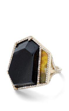 Black Guatemalan Jade, Jasper And White Diamond Ring by Monique Péan for Preorder on Moda Operandi