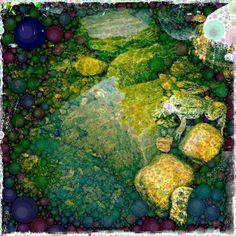 Enchanted Pond at Ash Creek Pottery by Michelle LaRiviere #phoneography #ipadart #percolatorapp #digitalart #photobasedart #hipstamatic #garden #pond #frogs #frogpond