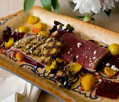 Grilled Yellowfin Tuna with Baby Beet Salad and Humboldt Fog | This grilled tuna dish from Lidia Bastianich is a delicious and filling option for non-meat eaters.