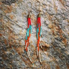 Seed Bead Earrings, Long Fringe Earrings, Beaded Earrings