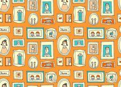 family frames textile pattern
