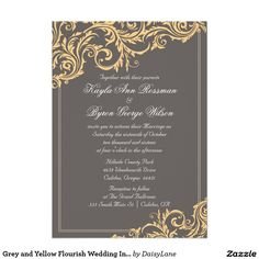 Grey and Yellow Flourish Wedding Invitation