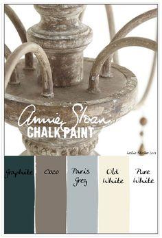 Colorways: graphite, coco, paris grey, old white, pure white (Annie Sloan chalk paint)