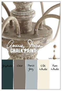 Colorways: graphite, coco, paris grey, old white, pure white (Annie Sloan chalk paint)