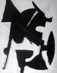 Brian Elston . Abstract painting modern black and white minimalist by MODERN707, $50.00