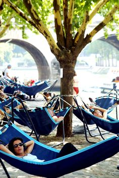 Paris Plages are open again. Thousands of tonnes of sand are dumped and sculpted along part of the banks of the Seine in Paris to create a beach. Several other towns have followed suite, but nowhere near this scale.