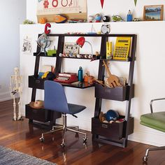 Kids' Desk: Kids Chocolate Leaning Wall Bookcase in Bookcases & Caddies | The Land of Nod