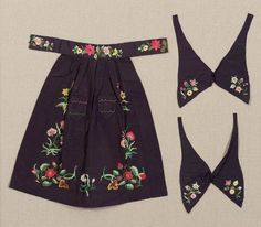 Apron and matching bows in three part (apron) American ca. 1830-1840