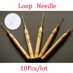 (10 pieces/lot ) woode handle hook needle / micro rings needle /hair tools for micro rings hair extensions