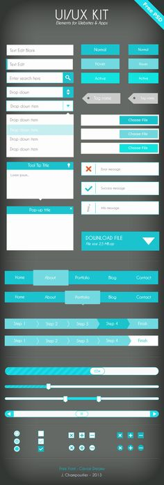 UI Flat design - blue