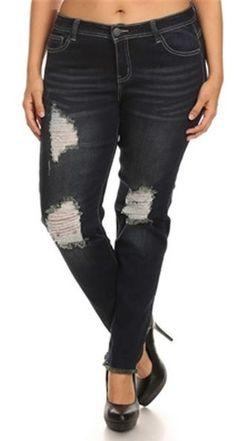 Kate Distressed Dark Wash Straight Leg Plus Size Jeans