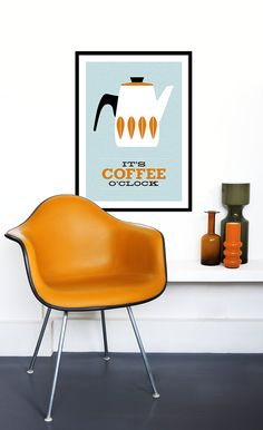 Cathrineholm poster print Catherineholm Mid Century modern Eames home tea coffee kitchen art - It's Coffee O'clock - Orange 50 x 70 cm Mid Century Chair, Mid Century Decor, Mid Century Furniture, Mid Century Design, Eames, Furniture Styles, Modern Furniture, Furniture Design, Clock Orange