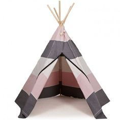 A cool and Contemporary Teepee. A kid 's toy that you wouldn 't want to hide away in the play room! This rose and grey nordic tipi will bring style to any space! This Hippie Tipi with 5 sides and 5 wooden poles is brilliant fun for the kids and can be used outside as well as inside. When not in use it can be easily stored away in the accompanying storing bag.