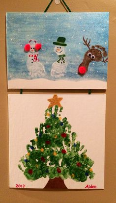 Christmas footprint and handprint art