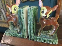 Adorable-Pair-60s-Ceramic-Bookends-Bambi-style-Fawn-Deers-w-paper-Japan-sticker
