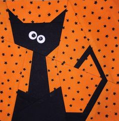 Paper pieced cat cute for Halloween