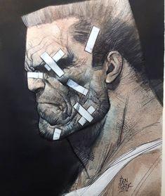 Sin City - Marv by Ben Oliver * Heros Comics, Dc Comics, Comic Book Heroes, Comic Books Art, Frank Miller Sin City, Frank Miller Art, Bilal Enki, Ben Oliver, Comic Kunst