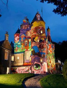 Brazilian artists OsGemeos, Nina and Nunca/, just outside of Glasgow, Scotland/ There is a link in comment section, with more pictures of the castle
