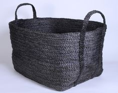 Large rectangular jute basket charcoal