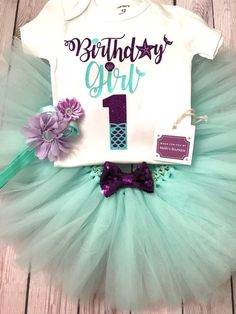 First birthday outfit girl, mermaid first birthday outfit, mermaid outfit baby girl, first birthday shirt girl, baby girl tutu mint by MelihsBoutique on Etsy https://www.etsy.com/listing/502837245/first-birthday-outfit-girl-mermaid-first