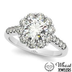 Round Floral Halo Engagement Ring available at Wheat Jewelers