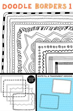 Clip Art: Doodle Borders 1: Hand-Drawn Borders for Personal and Commercial Use $