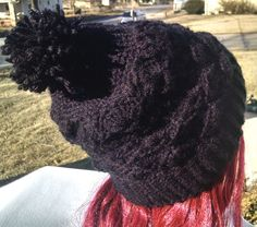 Handmade Black Crochet Pom Pom Hat with Unique Shell Pattern Thick Warm Soft Black Slouchy Hat