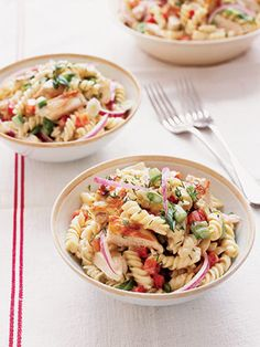 """Another pinner said:  """"If your summer days are filled with activities, add this main-dish pasta salad to your menu plan. Make it  early in the day or the night before and chill it until serving time. The honey-mustard dressing is fantastic with the chicken, pasta, and veggies."""""""