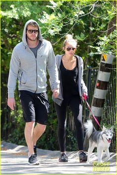 Miley Cyrus & Liam Hemsworth and such a cute dog!!