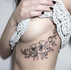 Resultado de imagem para floral tattoo boob